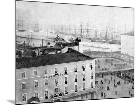 Arrival by Ship of the Corpse of the Emperor Maximillian in Trieste, During Austro-Hungarian Empire-Giuseppe Wulz-Mounted Photographic Print
