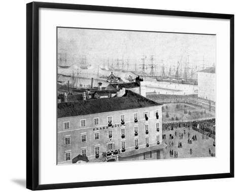 Arrival by Ship of the Corpse of the Emperor Maximillian in Trieste, During Austro-Hungarian Empire-Giuseppe Wulz-Framed Art Print