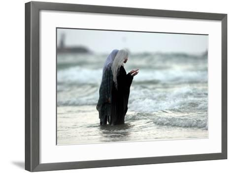 Palestian Girls Bathe in the Water Next to the Beach in Tel Aviv, Israel-Pavel Wolberg-Framed Art Print