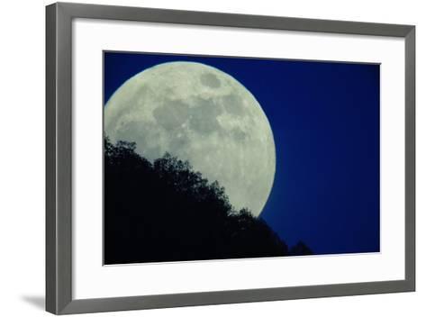 The Full Moon Rises Above Somoskoujfalu, 123 Kms Northeast of Budapest, Hungary-Peter Komka-Framed Art Print