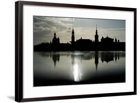 The Skyline Is Reflected on a Rainy Day in Dresden, Germany-Arno Burgi-Framed Art Print