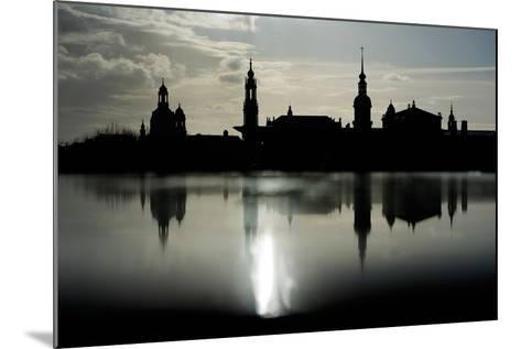 The Skyline Is Reflected on a Rainy Day in Dresden, Germany-Arno Burgi-Mounted Photographic Print