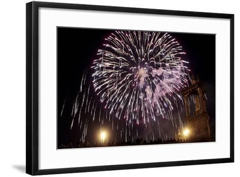 People Enjoy the Fireworks During the 'Nit Del Foc'-Kai Forsterling-Framed Art Print