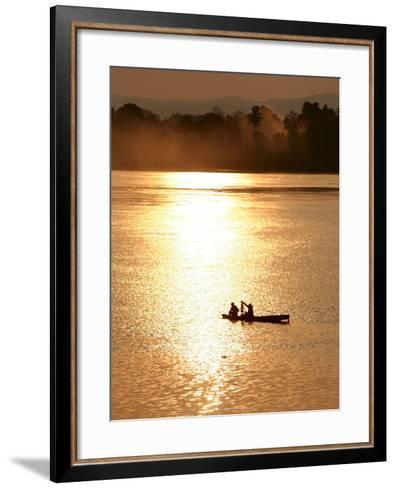 Fishermen in the Mekong River in Laos-Barbara Walton-Framed Art Print