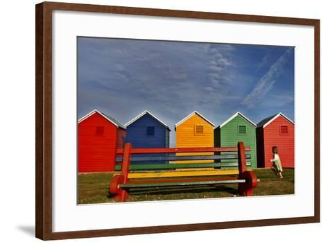 A Child Runs Past Beach Huts-Nic Bothma-Framed Art Print