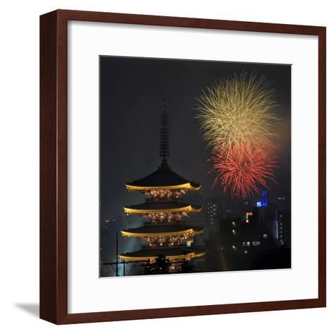 Fireworks Explode over the Five-Storypagoda of Sensoji Temple at Asakusa, Downtown in Tokyo, Japan-Kimimasa Mayama-Framed Art Print