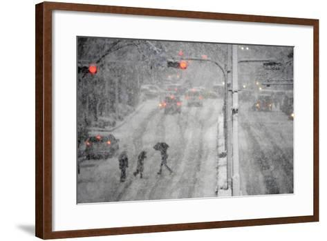Pedestrians Cross a Large Avenue as Heavy Snow Falls in Tokyo-Franck Robichon-Framed Art Print