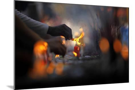 Myanmar Buddhists Light Candles at the Shwedagon Pagoda on the Full Moon Day-Lynn Bo Bo-Mounted Photographic Print
