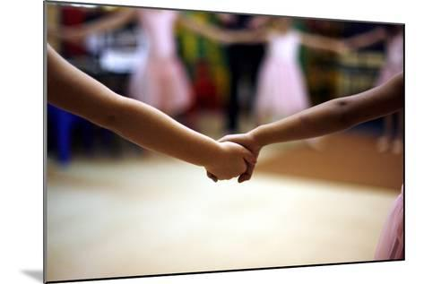 Two Girls Hold Hands-Kim Ludbrook-Mounted Photographic Print
