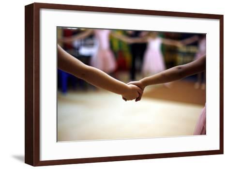 Two Girls Hold Hands-Kim Ludbrook-Framed Art Print