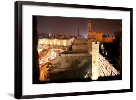 View of Old City Walls in Jerusalem with Tower of David with Night Lighting-Yossi Zamir-Framed Art Print