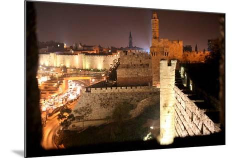 View of Old City Walls in Jerusalem with Tower of David with Night Lighting-Yossi Zamir-Mounted Photographic Print