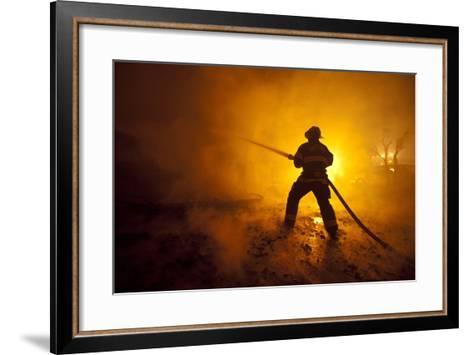 Fire Crews Work to Contain a Fire-Peter Dasilva-Framed Art Print