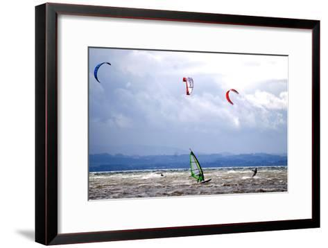 Wind and Kite Surfer Use the Trough of Low Pressure 'Emma' at the Lake Constance-Dietmar Stiplovsek-Framed Art Print