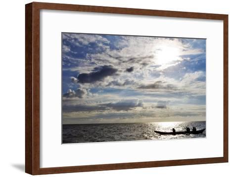 Canoeists are Against a Sun as Six Dutch Adventurers on a Selfmade Canoe Leave the Netherlands-Koen Van Weel-Framed Art Print