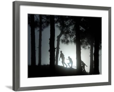 People Walk Through the Jungle in Mist-Narendra Shrestha-Framed Art Print