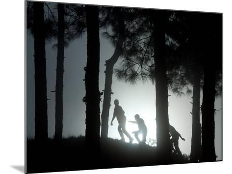 People Walk Through the Jungle in Mist-Narendra Shrestha-Mounted Photographic Print