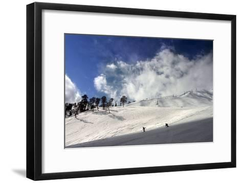 Skiers Practice on the Slopes-Altaf Qadri-Framed Art Print