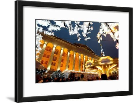 A Festive Activities in Front of the Parliament Building in Tbilisi-Zurab Kurtsikidze-Framed Art Print