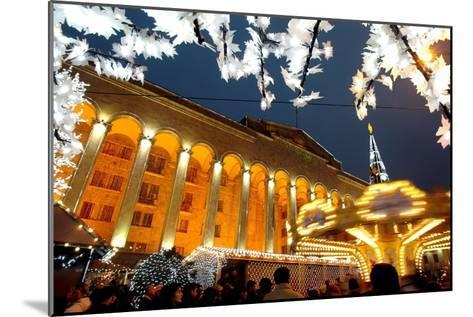 A Festive Activities in Front of the Parliament Building in Tbilisi-Zurab Kurtsikidze-Mounted Photographic Print