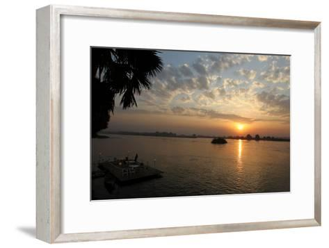 The Sun Rises Behind the Nile River in Juba, Southern Sudan-Mohamed Messara-Framed Art Print