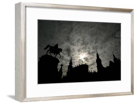 Silhouette of Historic Dresden-Ralf Hirschberger-Framed Art Print