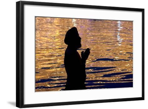 A Sikh Devotee Prays-Raminder Pal Singh-Framed Art Print