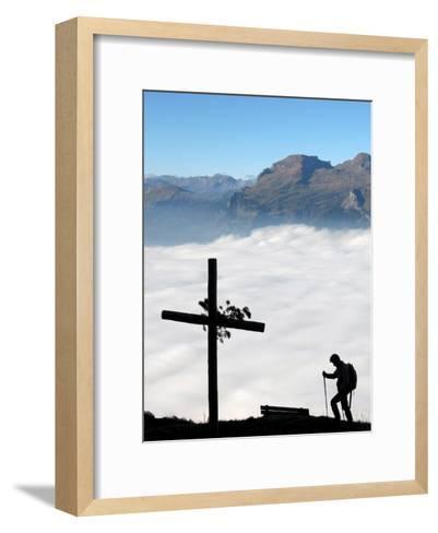A Hiker Above Triesen in Liechtenstein Enjoys the View over the Sea of Fog-Arno Balzarini-Framed Art Print