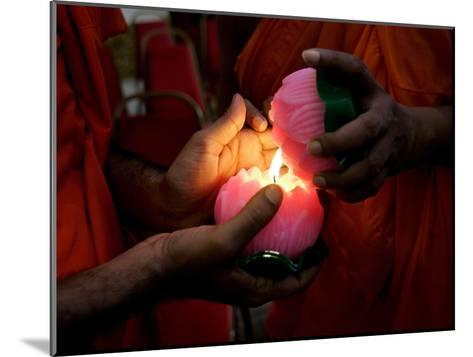 Buddhist Monks Light Candles During the Interfaith Special Prayers for Peace in Tibet-Shamshahrin Shamsudin-Mounted Photographic Print