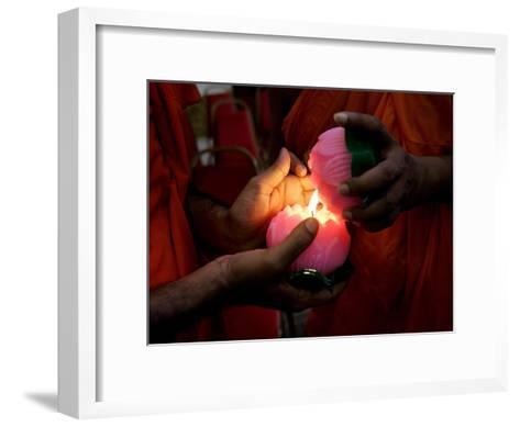 Buddhist Monks Light Candles During the Interfaith Special Prayers for Peace in Tibet-Shamshahrin Shamsudin-Framed Art Print