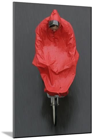 A Cyclist Rides in the Rain on a Street in Beijing-Michael Reynolds-Mounted Photographic Print