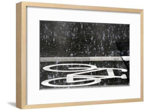 Rain Pours onto a Bicycle Lane-Maurizio Gambarini-Framed Art Print