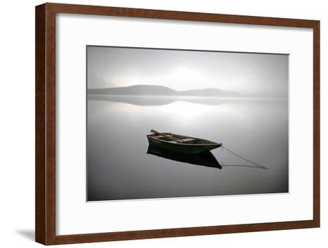A Row Boat Floats on the Banks of Foggy Edersee Lake Near Waldeck, Central Germany-Uwe Zucchi-Framed Art Print