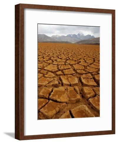 General View of Low Level of Water at Reservoir of Milluni, Near of La Paz, Bolivia-Martin Alipaz-Framed Art Print