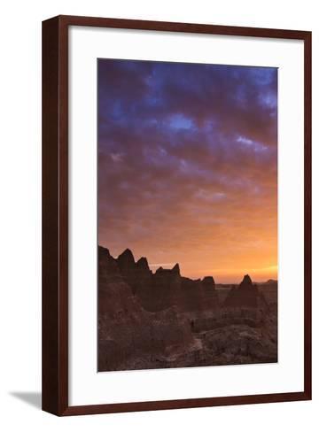 Clouds Reflect Color over Badlands National Park, South Dakota at Sunrise-Mike Cavaroc-Framed Art Print