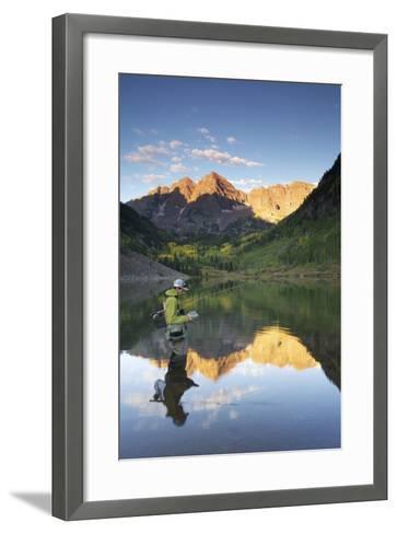 Angler Geoff Mueller Fly Fishing on a Lake in Maroon Bells Wilderness, Colorado-Adam Barker-Framed Art Print