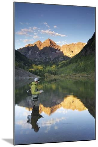 Angler Geoff Mueller Fly Fishing on a Lake in Maroon Bells Wilderness, Colorado-Adam Barker-Mounted Photographic Print