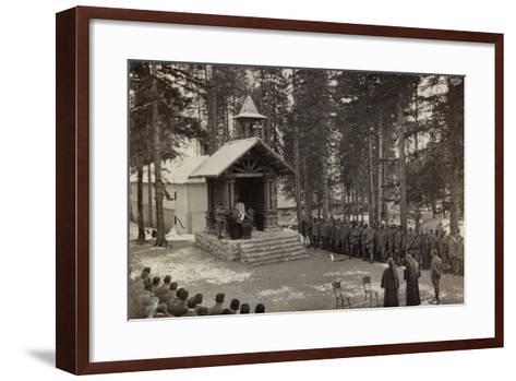 Pictures of War II: Italian Soldiers Participating in the Mass at the Chapel--Framed Art Print