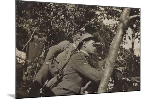 War Campaign 1917-1920: Asiago Plateau-Range Mezzavia June 1918, a Soldier with Binoculars--Mounted Photographic Print