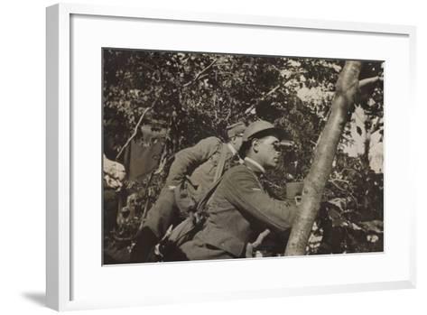 War Campaign 1917-1920: Asiago Plateau-Range Mezzavia June 1918, a Soldier with Binoculars--Framed Art Print