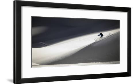 A Young Male Skier Makes Some Powder Turns in the Backcountry Near Mt Herman, Washington-Jay Goodrich-Framed Art Print
