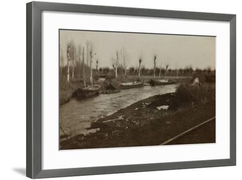 Boats on the River Corno--Framed Art Print