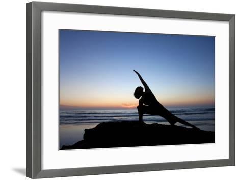 A Young Woman Performs Yoga at Blacks Beach in San Diego, California-Brett Holman-Framed Art Print