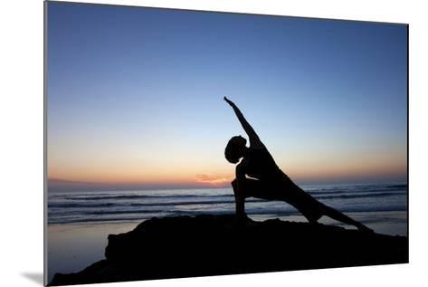 A Young Woman Performs Yoga at Blacks Beach in San Diego, California-Brett Holman-Mounted Photographic Print
