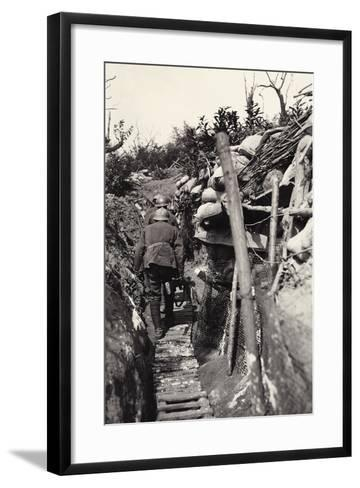 Italian Soldiers in a Trench of Podgora During World War I-Ugo Ojetti-Framed Art Print