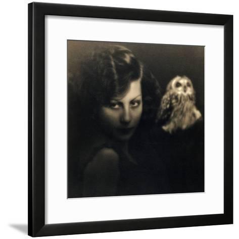 Portrait of a Woman with an Owl-Bruno Miniati-Framed Art Print