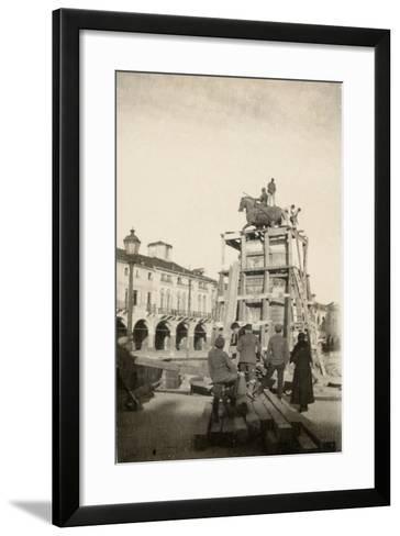 The Gattamelata Equestrian Monument under Restoration in Padova During WWI-Ugo Ojetti-Framed Art Print