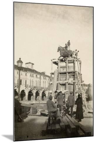 The Gattamelata Equestrian Monument under Restoration in Padova During WWI-Ugo Ojetti-Mounted Photographic Print