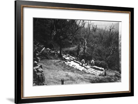 Italian Soldiers of World War I Construct Armored Shelters on the Outskirts of Podgora-Ugo Ojetti-Framed Art Print