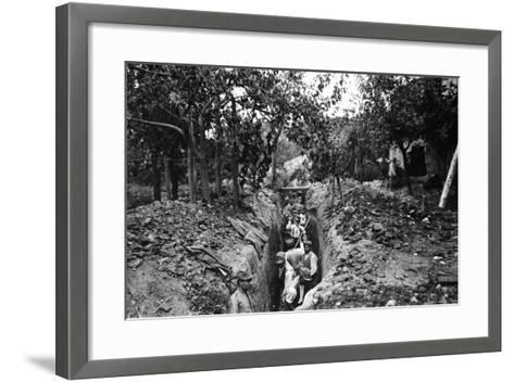Italian Soldiers of World War I Dig a Communication Trench in Lucinico-Ugo Ojetti-Framed Art Print